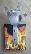 METAL DANDIE HAND WITH FLAMES Hot Rod Drag Racing Bag Coat hook hanging Rack