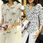 Women Elegant Loose Chiffon Long Sleeve Print Blouse T Shirt Tops Casual Tee Hot