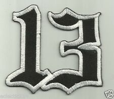 """LUCKY 13"" Embroidered Patch Iron On 1950's ROCKABILLY Pin Up Punk Cherry TATTOO"