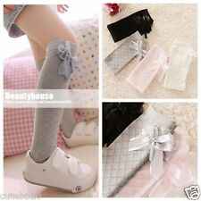 Lovely Girls Kids Toddler Knee High Cotton Socks Silk Bow 3 to 10 years old