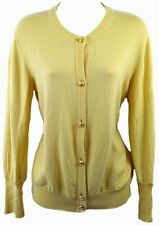 Vintage SALVATORE FERRAGAMO Cardigan Sweater Yellow Gold Buttons Silk Cashmere