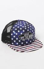 Vans Off The Wall Classic Patch America Red White Blue Trucker Hat Mens New NWT