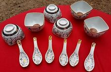 GROUP OF 6 VINTAGE CHINESE PORCELAIN SOUP BOWLS & SPOONS ALL SIGNED & MARKED