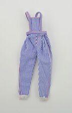 Barbie Doll blue white stripe overalls white cuffs clothes