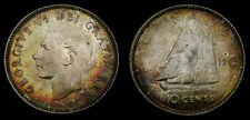 1949 Canada Silver Dime 10 Cents King George VI Rainbow Toning MS-60