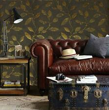 Charcoal & gold, Leaf design, Italian vinyl wallpaper (56166)