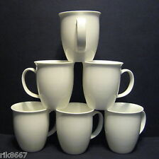 Set Of 6 White Large Tulip Shape Fine Bone China Mug Cups Beakers 12-13 floz