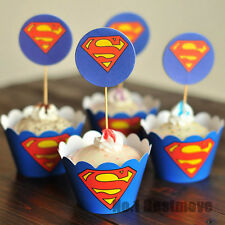 24Pcs Superman Paper Cupcake Wrappers & Toppers For Children Kids Birthday Party