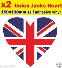 2 Heart union jack decals stickers self adhesive vinyl jdm Euro Drift vw car van