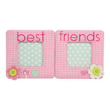 Best Friends Fabric Double Picture Frame – Gisela Graham – Pink – 5x5 cm – Photo