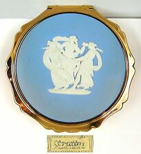 BLUE WEDGWOOD JASPERWARE STRATTON LADIES COMPACT POWDER CASE