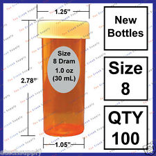 100 NEW Size 8 Dram Small Empty RX Prescription Pill Bottle Safety Craft Storage