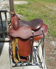 """Genuine Fred Mueller 15"""" working ranch saddle see history of this saddle below"""