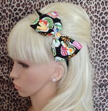 "BLACK CANDY SUGAR SKULL PRINT COTTON FABRIC 5"" SIDE BOW ALICE HAIR HEAD BAND"