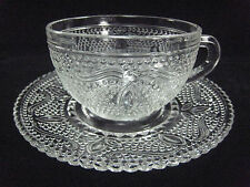 Federal Glass Clear Cup and Saucer Set (s)  Heritage Pattern 1940-1955