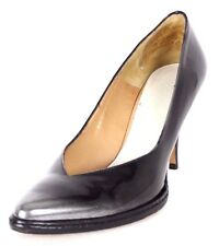 MAISON MARTIN MARGIELA Black & Silver Brushed Leather Heels Pumps 39