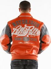 pelle pelle leather jacket notorious fire orange plush (46=large)