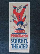 """Original Plakat Schichtl Theater """"Alles steht Kopf"""" 80 x 31 cm 1925/1939"""