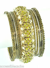 Chamak Sparkle Green & Clear Crystals Set of 11 Metal Bangle Bracelets