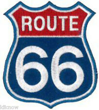 "ROUTE 66 (Red/Blue) EMBROIDERED PATCH 7CM X 8CM (2 3/4"" X 3"")"