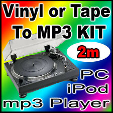 NEW 2 Meter Tape Turntable Vinyl LP Converter To PC Laptop MP3 & CD Transfer Kit