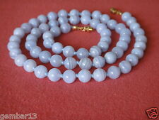 "Natural Blue Lace Agate Necklace 8mm Beads 22"" Grade 'A' 8 mm BlueLace Beads"