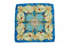 Battisti Pocket Square Bright turquoise & beige floral pattern, pure silk