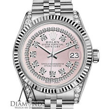 Woman's Rolex 36mm DatejustSS Pink String Diamond Dial with Vintage Style Marker