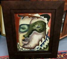 Rare Afro American Jester  Portrait Painting After Picasso Signed J.C. Georgi