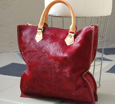 Pony Hair & Vachetta Leather Tote, Shopper, Laptop Bag-Crimson Cowhide