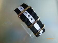 Uhrenarmband Nylon 22 mm schwarz-weiß-schwarz NATOBAND Dornschließe Textil