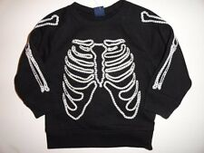 NWT Baby Gap 12-18 Halloween Skeleton Embroidered Crewneck Sweatshirt Black