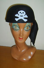 Mens Pirate Bandana Skull Crossbone Hat Headwear Fancy Dress Costume New