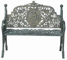 INCREDIBLE Outdoor Cast Iron Antique Moss Green or Black NOVEAU Bench Seat Chair