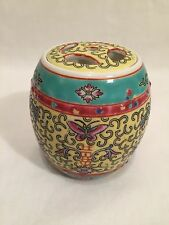 Vintage Chinese Zhongguo Jingdezhen Zhi Yellow Mun Shou Barrel Jar Lidded Pot