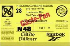 Billet DFB-Coupe 97/98 Hannover 96-FC Carl zeiss JENA