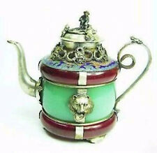 Collectibles green Tibet silver red jade teapot