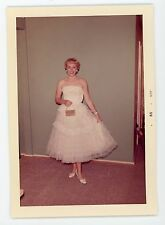 All dressed up. Beautiful blond girl ready for prom night.  vintage photo color