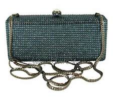 Ladies Navy Blue Crystal Evening Bag Handbag Purse with Swarovski Crystals