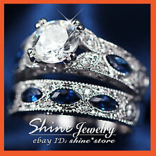 18K WHITE YELLOW GOLD GF VICTORIAN SAPPHIRE CT DIAMOND ENGAGEMENT WEDDING RINGS