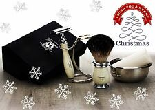 5 PIECES SHAVING SET. (Badger Hair,DE Safety Razor,Stand & Soap)PERFECT GIFT MEN