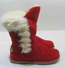 new red  Winter comfortable flat ankle boot fur inside    size   9