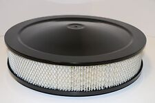 "14"" X 3"" Round Black Air Cleaner Assembly Flat Base Chevy SBC 350 BBC 454 Paper"