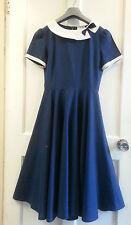 Genuine VINTAGE años 70 años 80 Dolly día Completo Azul Marino Skater Falda Vestido Talla 8
