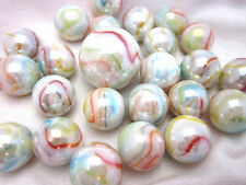 25 Glass Marbles UNICORN Pink/White/Orange/blue  game vtg style Swirl Shooter