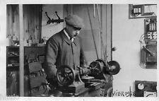 BK184 Carte Photo vintage card RPPC Homme machine ouvrier electricité