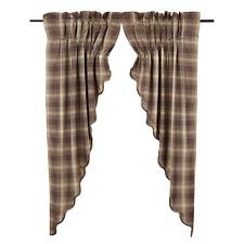 New Primitive Cabin Chocolate Brown Tan Dawson Plaid Prairie Swags Curtains