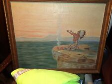 Antique 19thC Western American OC-painting of Indian Chief, Gilt Frame, NR