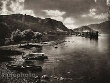 1925 Original ITALY Photo Gravure LAKE MAGGIORE Boat Shore Mountain ~ HIELSCHER