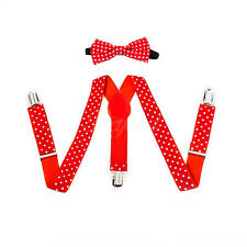 Polka Dots Suspender and Bow Tie Set for Baby Toddler Kids Boys Girls (USA)